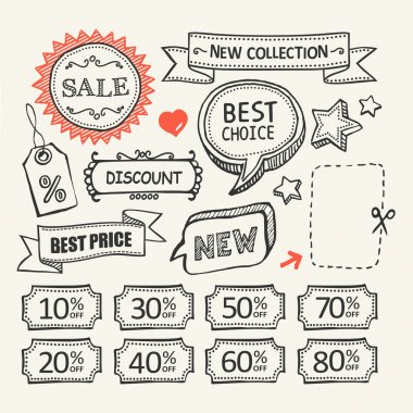 Sale tags. Shopping. A set of hand drawn elements.