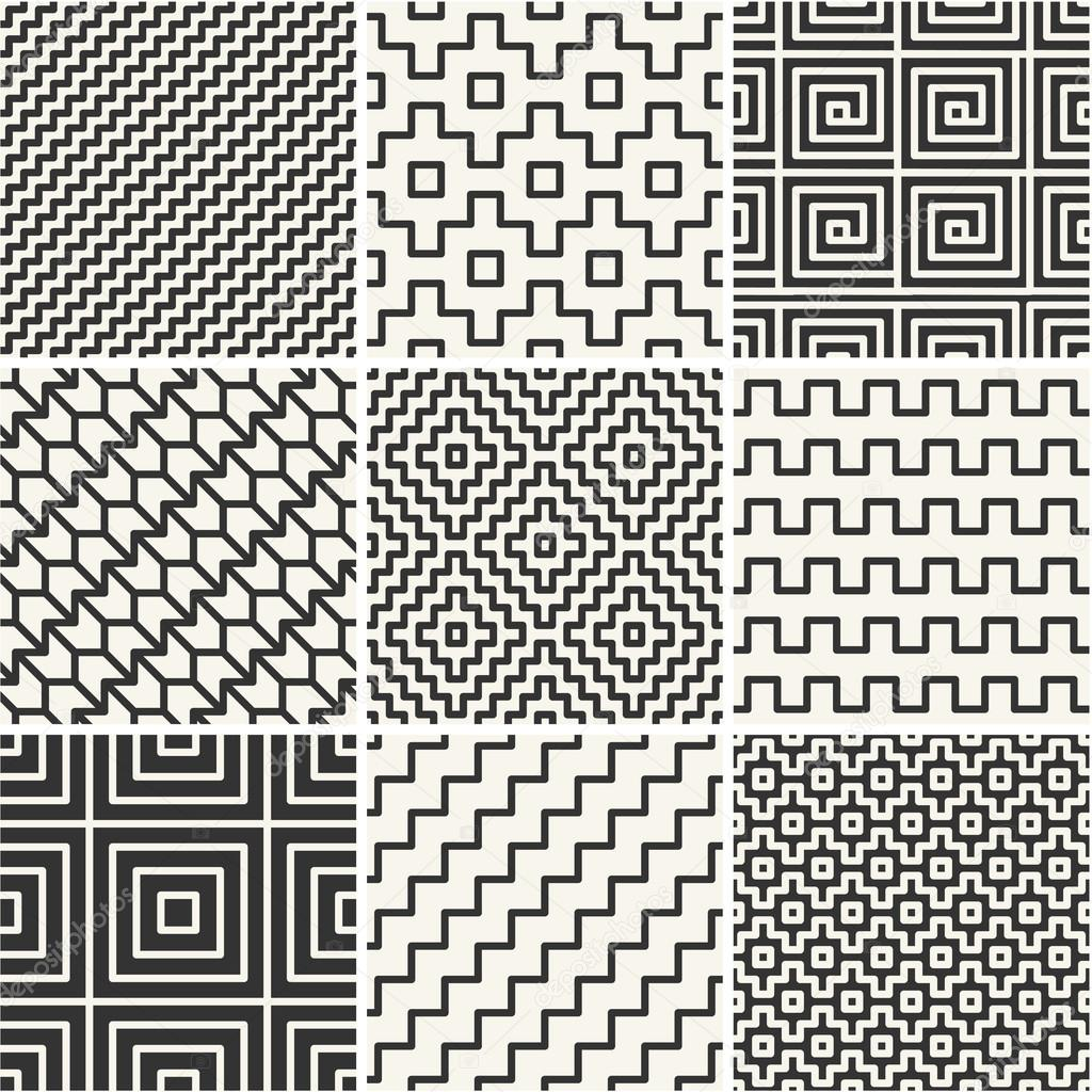 Vector mono line backgrounds with simple patterns