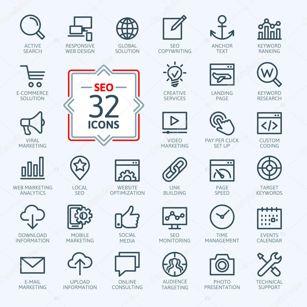 Outline web icons set - SEO