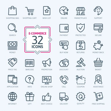 E-commerce, online shopping. Outline web icons set.