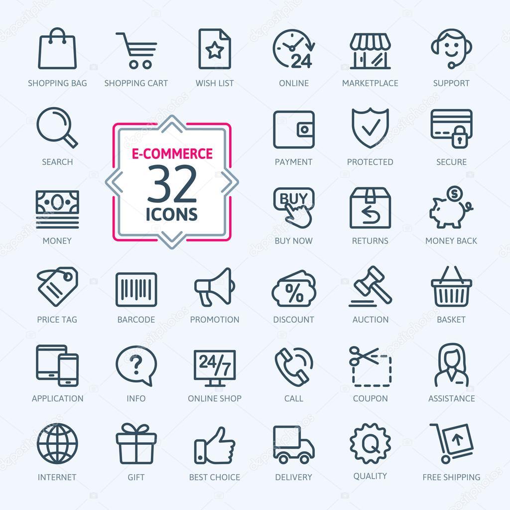 E-commerce, online shopping. Outline web icons set.