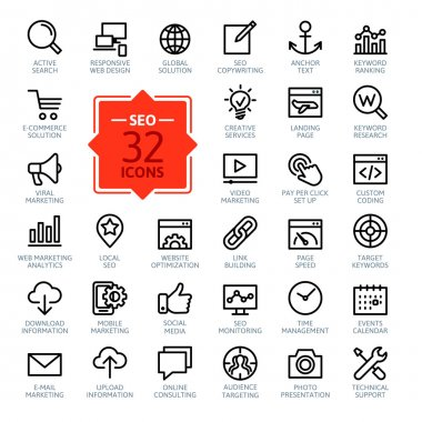 Outline web icons set - SEO (Search Engine Optimization)
