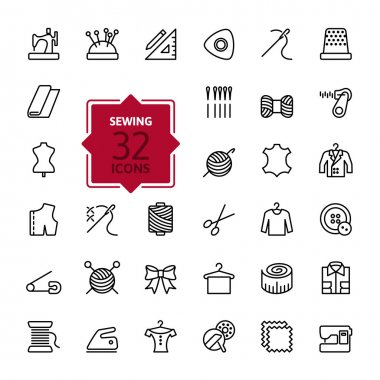 Outline web icon set - sewing equipment and needlework