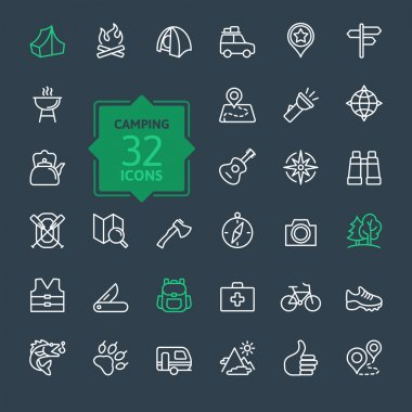 Outline icon set - summer camping, outdoor, travel
