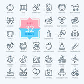 Fotografie Outline web icon set. Baby toys, feeding and care