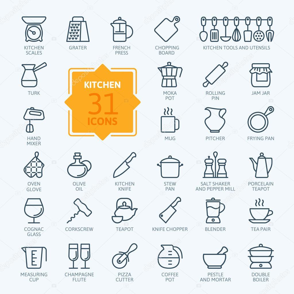 Icon-Sammlung - Kochen, Küchenutensilien und Geschirr zu skizzieren ...