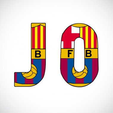 Letters with barcelonas logo.