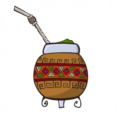 Calabash, decorated with ornaments, and Bombilla - a traditional set for   drinking yerba mate. Vector art. stock vector