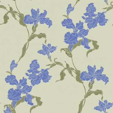 Seamless pattern with violet iris flower