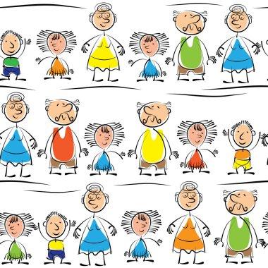 grandmother, grandfather and grandchildren seamless pattern