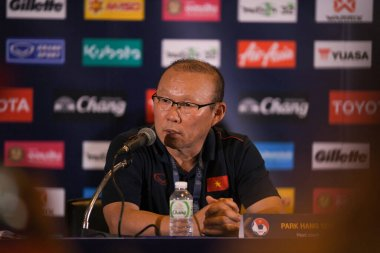 Buriram-Thailand-5Jun2019:Pang Hang-seo head coach of vietnam press conference after win thailand 1-0 tournament kings cup 2019 at chang arena, buriram, thailand