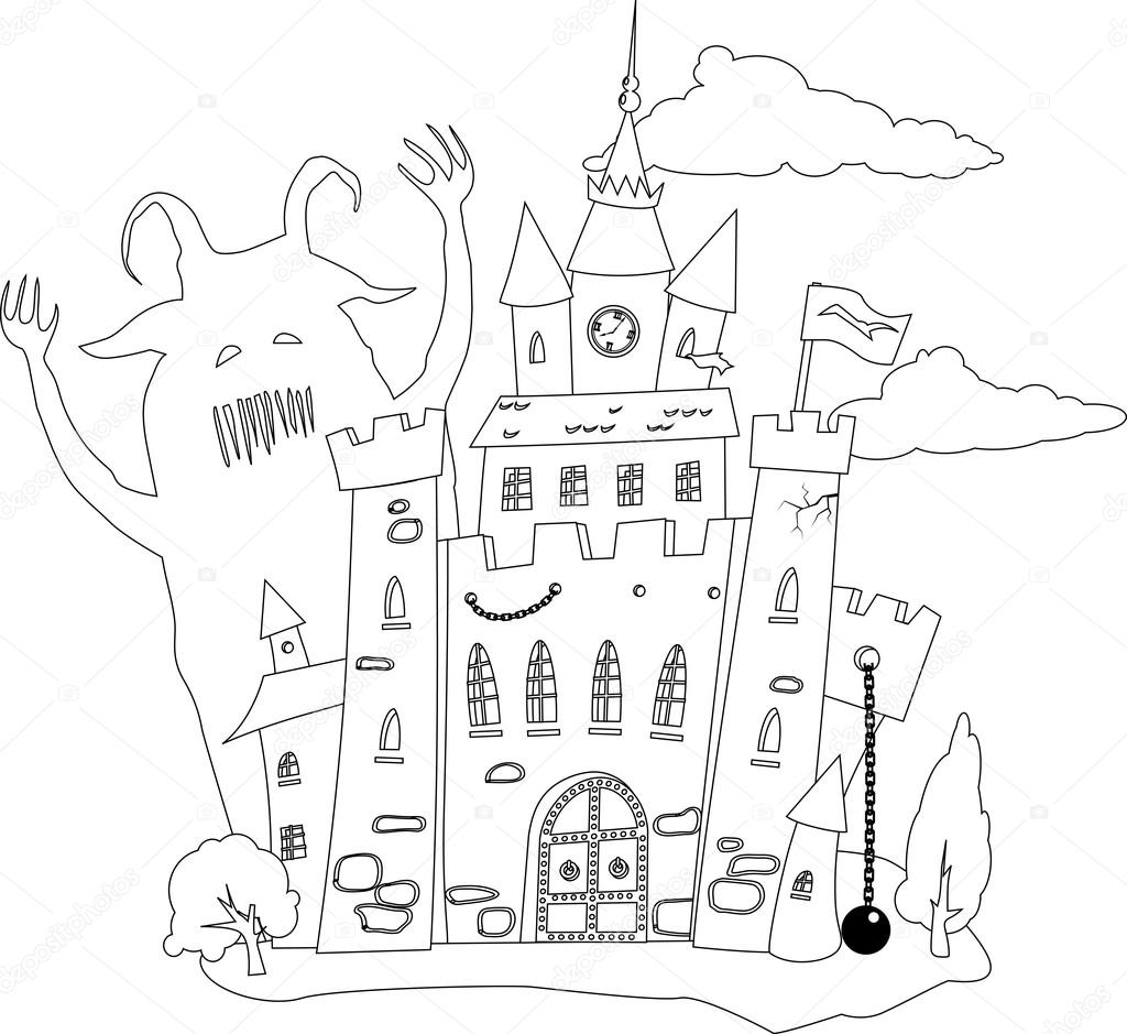 Coloring book page outline of a fairy tale castle and a monster eps 8 vector illustration vector by