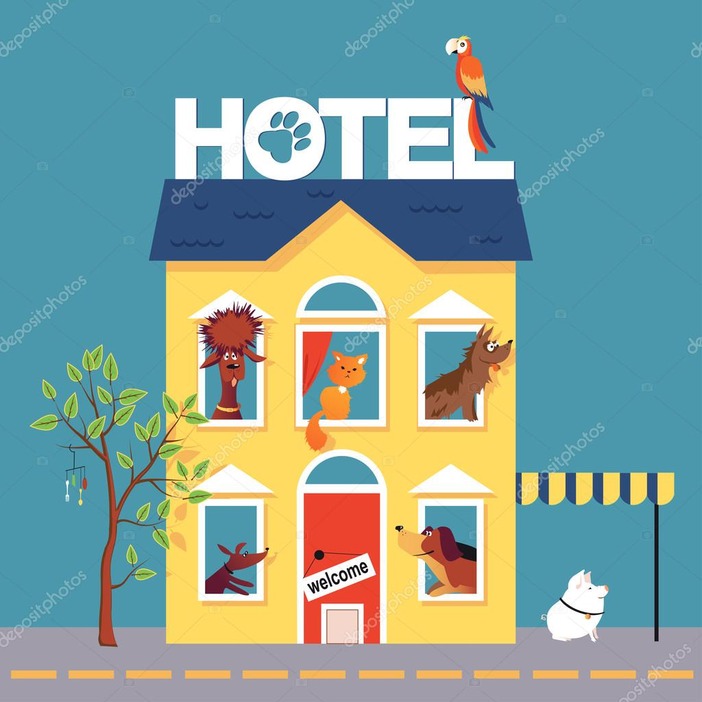 Cartoon pet hotel stock vector aleutie 105635622 for A for art design hotel