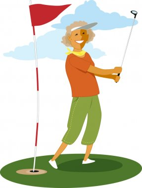 Senior female golfer