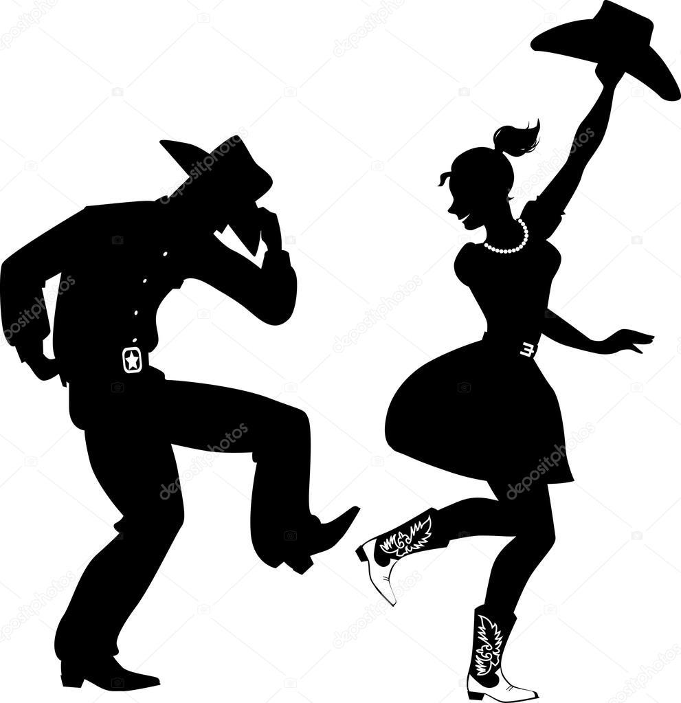 Silhouette de danseurs Country-Western — Image vectorielle ...