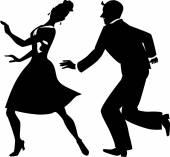Sziluettjét leágazó-táncosok