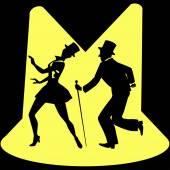 Érintsük meg táncolni előadók a színpadon tartozó spotlámpák