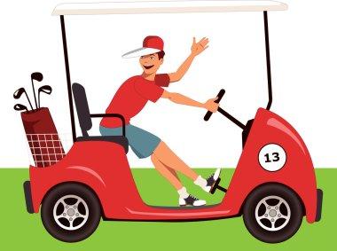 Caddy in a golf cart