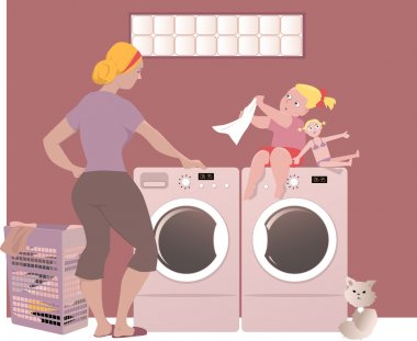Woman with a kid doing laundry