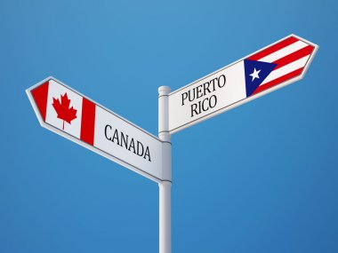 Puerto Rico Canada  Sign Flags Concept
