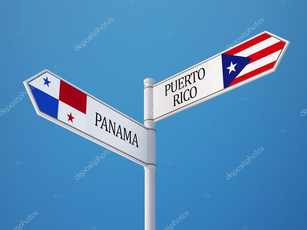 Puerto Rico Panama Sign Flags Concept Stock Editorial Photo - Panama flags