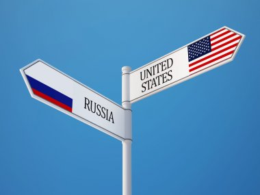 Russia United States  Sign Flags Concept