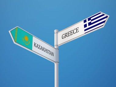 Kazakhstan Greece  Sign Flags Concept