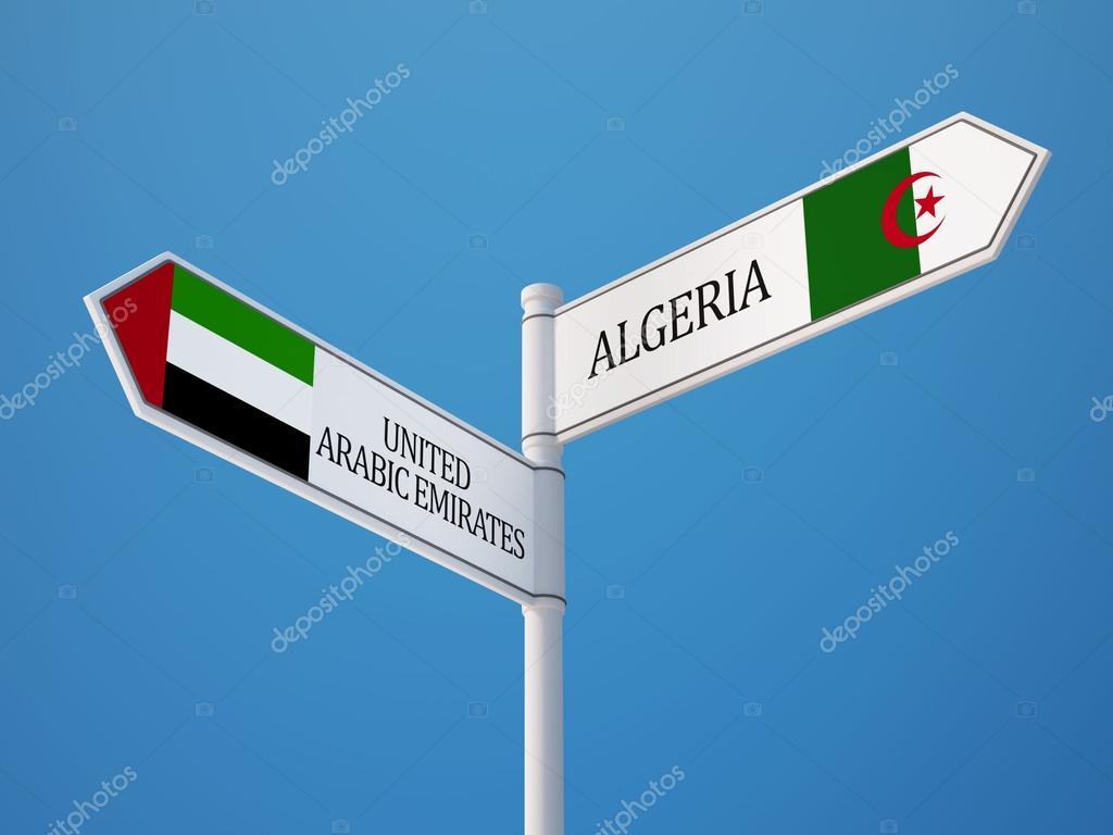 Concept de drapeaux Algérie Emirats arabes — Photographie eabff ...