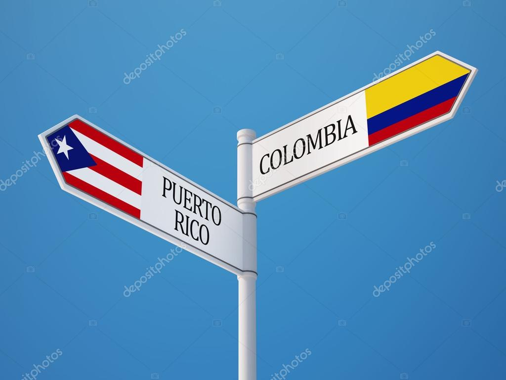 Puerto Rico Colombia Sign Flags Concept Stock Photo C Eabff