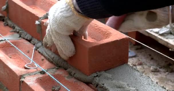Zblízka vrstvy cihel budování zdi