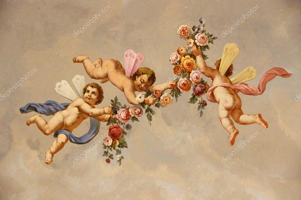 Angels with roses