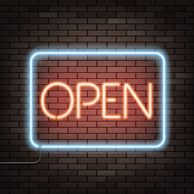 Neon sign with word open
