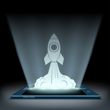 Rocket takes off from screen of  tablet