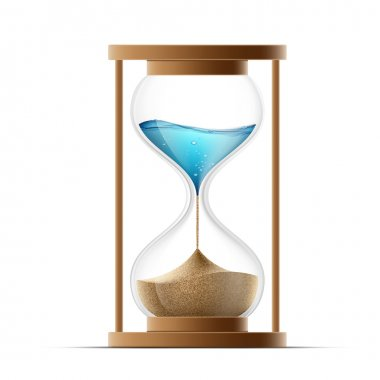 hourglass with the sand and water.