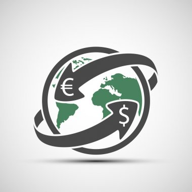 Simple icon earth planet with arrows. Money transfers.