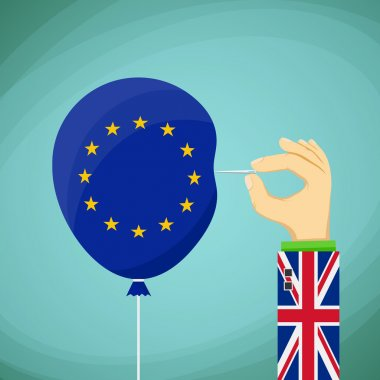 Needle in hand and balloon with flag
