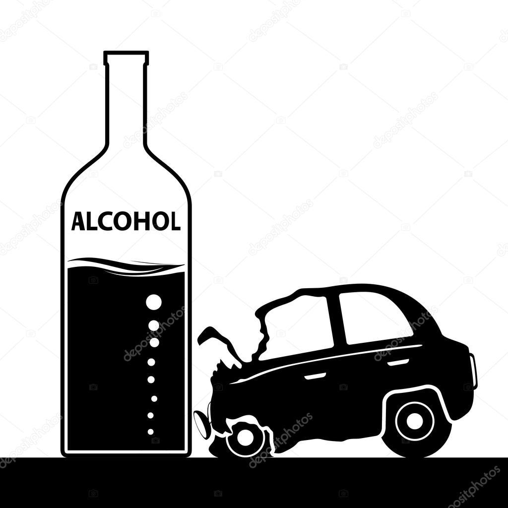 bouteille d alcool un accident de voiture l ivresse et la conduite st image vectorielle. Black Bedroom Furniture Sets. Home Design Ideas