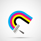 Paint roller draws a rainbow in CMYK ink. Color pigments icon. Isolated on white background. Vector illustration