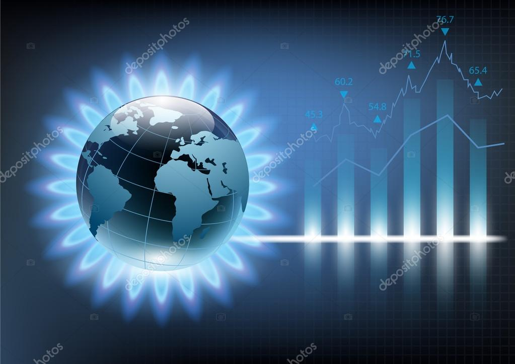 Planet earth in the blue flame of a gas burner. Vector illustrat