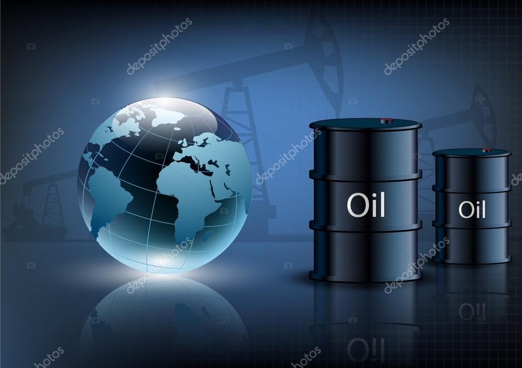 Oil pump oil rig energy industrial machine and barrels of oil on