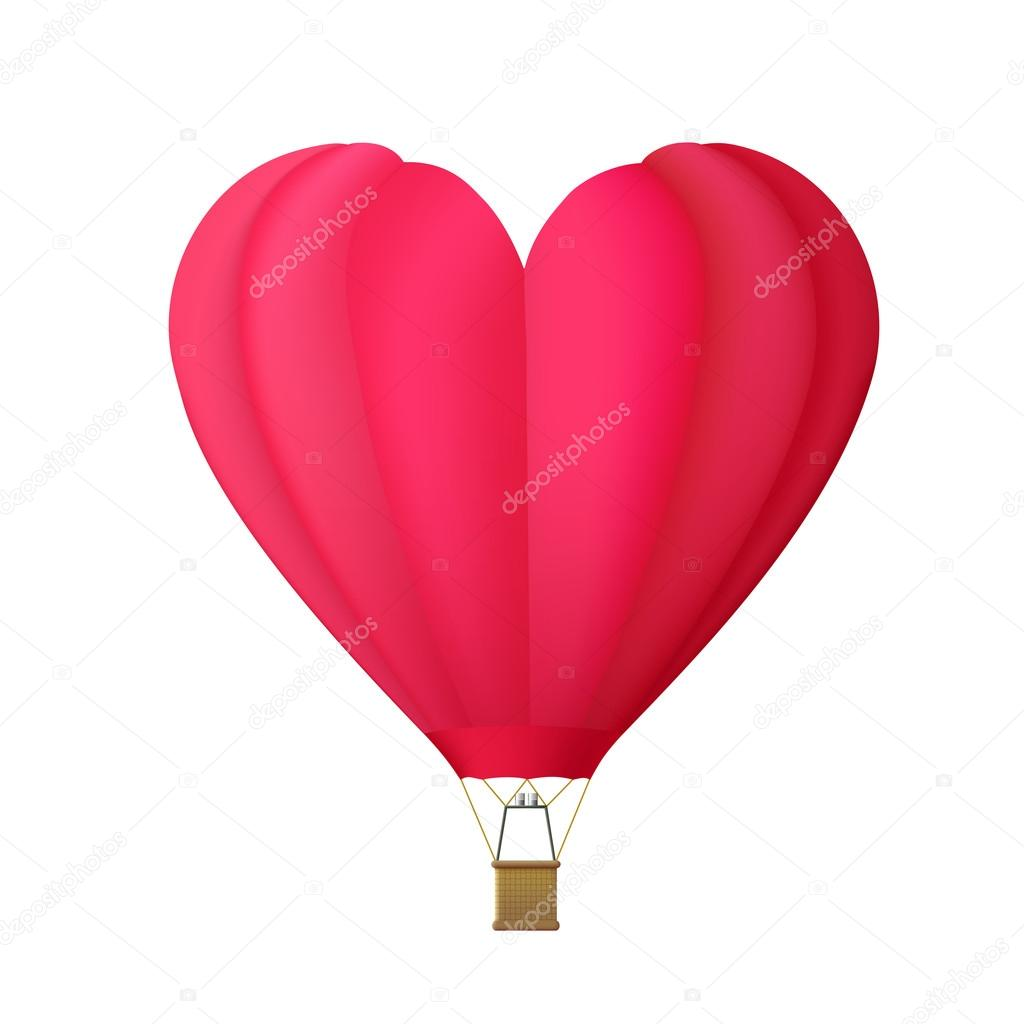 Hot air balloon in the shape of heart isolated on white backgrou