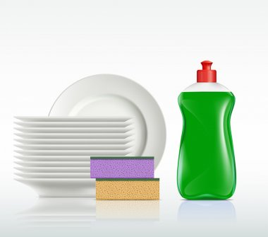 plates and a bottle with detergent isolated on white background