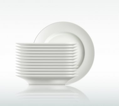 porcelain plates on a white background