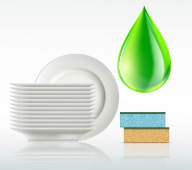 plates and a drop of detergent isolated on white background