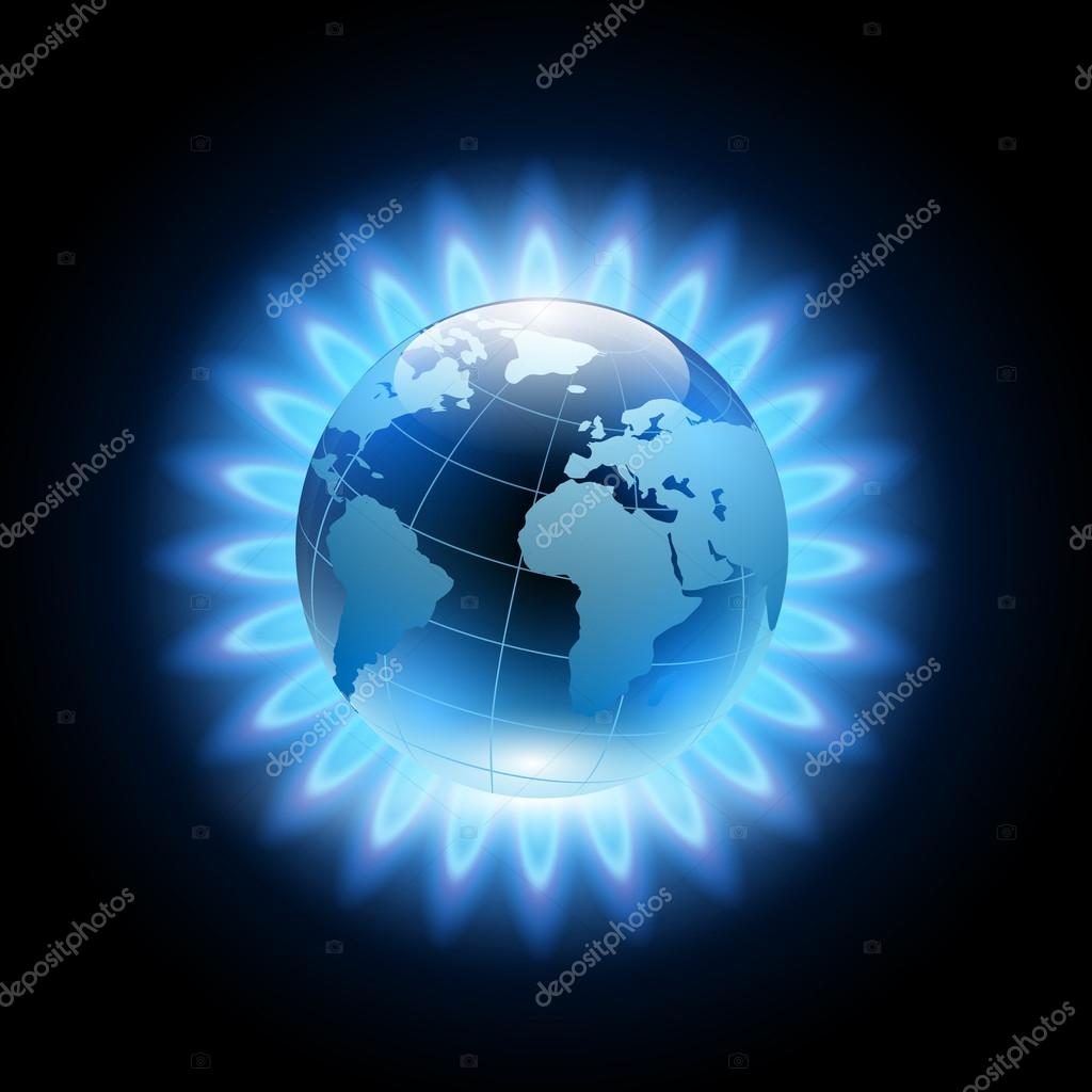 Blue flame around the planet earth