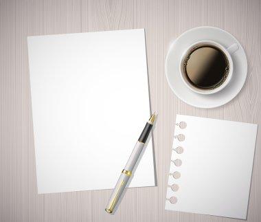 """Картина, постер, плакат, фотообои """"листок бумаги и чашка кофе на деревянном столе"""", артикул 69465803"""