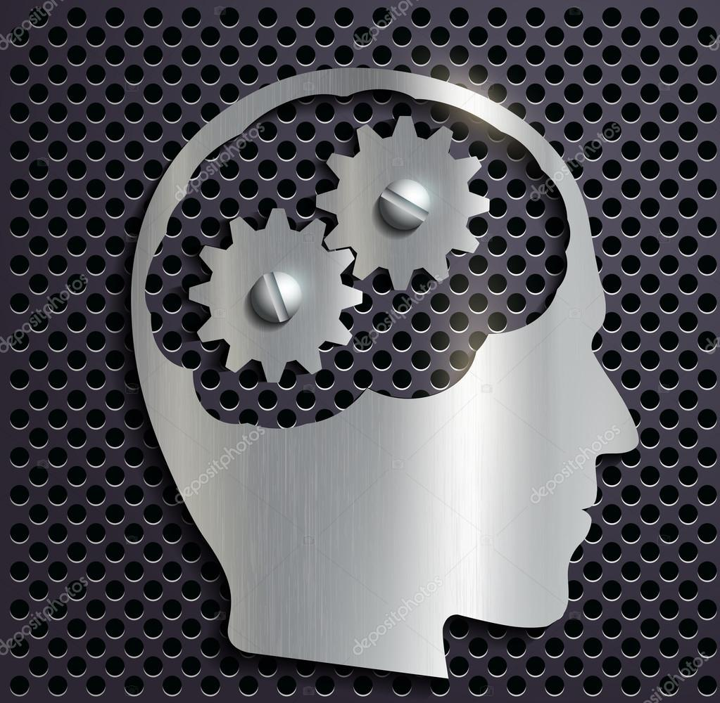 human head with gears inside