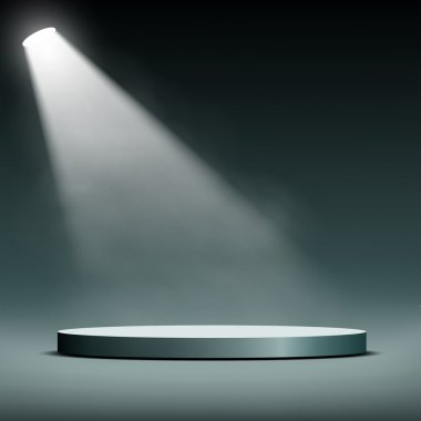 Floodlight illuminates a pedestal for presentation