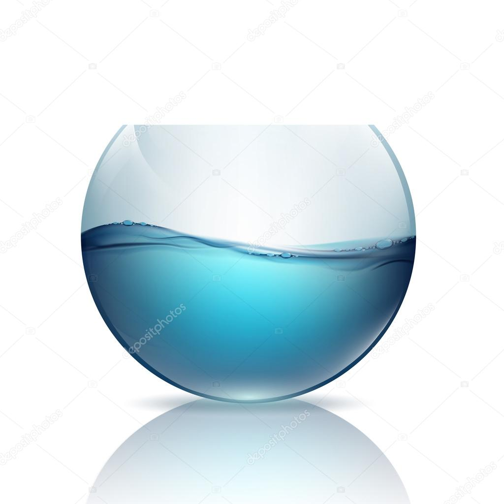 fishbowl with water isolated on a white background