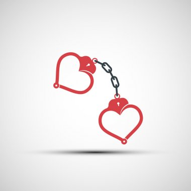 Vector icons of handcuffs in the form of heart